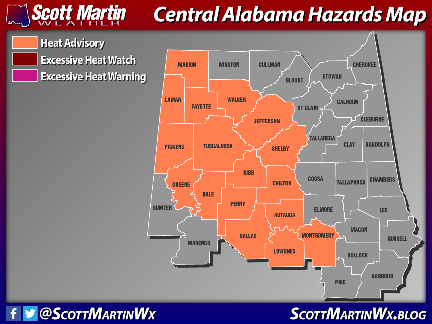 Heat Advisory For A Good Chunk Of Central Alabama Today